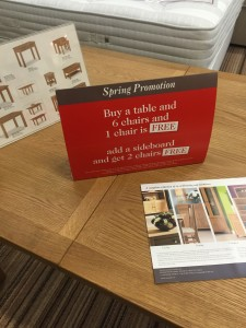 Instore table and chairs FREE offer